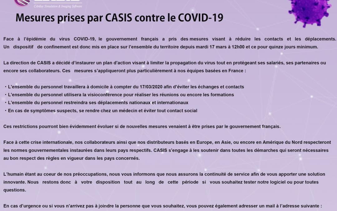 Mesures prises par CASIS contre le COVID-19